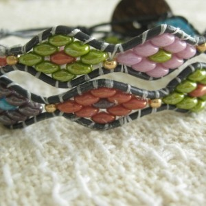 Leather beaded cuff bracelet in multi color superduos Wrap bracelet