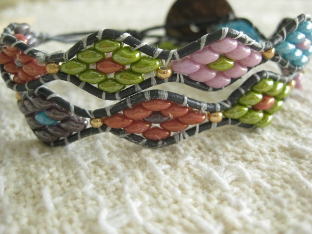 Leather beaded cuff bracelet in multi color superduos Wrap bracelet