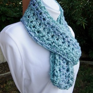 Light Blue CROCHET INFINITY SCARF Loop Cowl, Aqua & Denim Blues, Thick Soft Acrylic Winter Chunky Bulky Knit Circle, Ships in 3 Biz Days