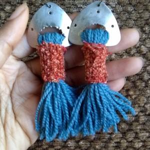 frida kahlo fringe earrings native tassel afrocentric bold sky blue goddess