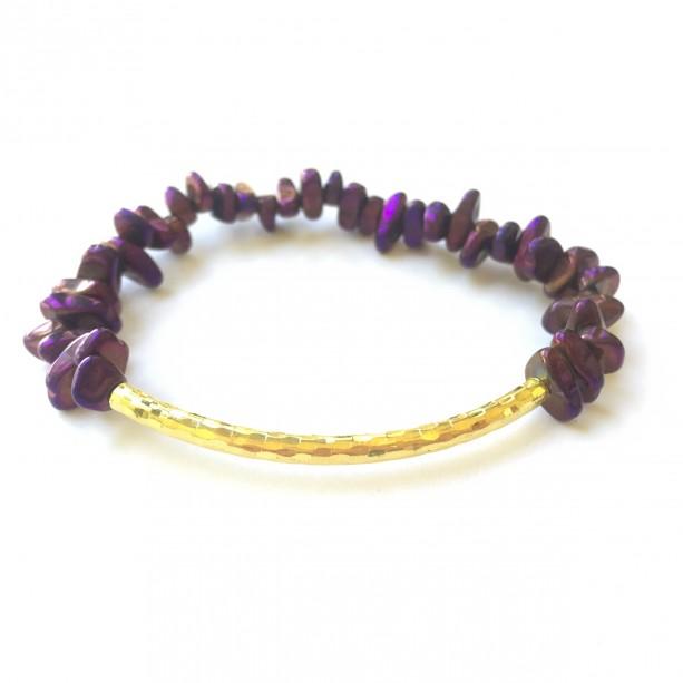 Purple Chip & Gold Bar Bracelet
