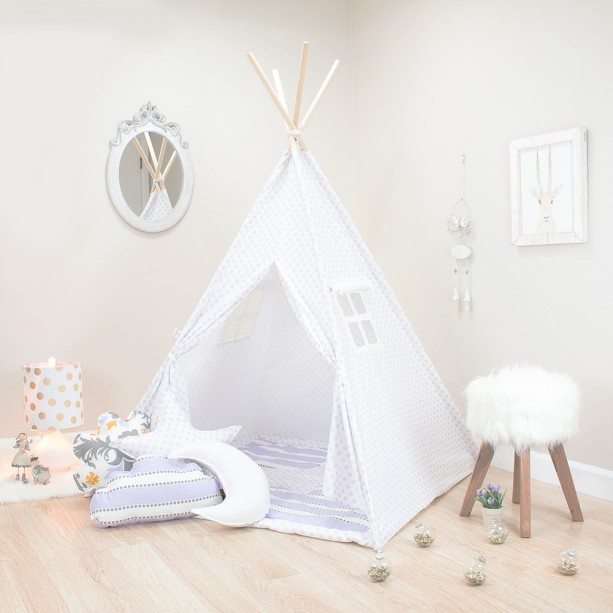 White with Purple Mini Flowers Kids Teepee Set