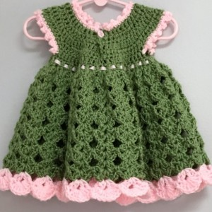 Infants 0-6 Months Green and Pink Baby Dress