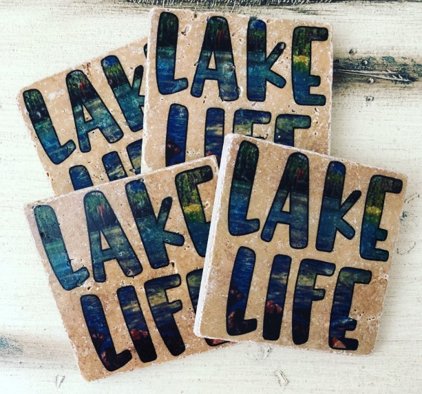 Lake Life Coasters Nautical Coasters Natural Stone Set of 4 Table Coasters