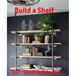 """Black Pipe Shelving, Open Wall Unit, Wall & Ceiling Mounted, Parts Kit """"DIY"""" - 4 Shelves & 10"""" Deep"""