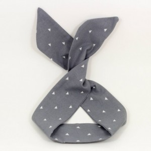 Light Grey with Triangle Print Wired Headband, Free Shipping, Rockabilly Style, Rockabilly inspired, 50's and 60's style headbands, Handmade