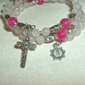 Rosary Bracelet of Rose Quartz and Agate, Silver Findings