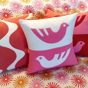 Modern Cashmere Scandi-Bird Cashmere Pillow - Appliques - Made to Order - Handmade in Maine with the finest revitalized cashmere