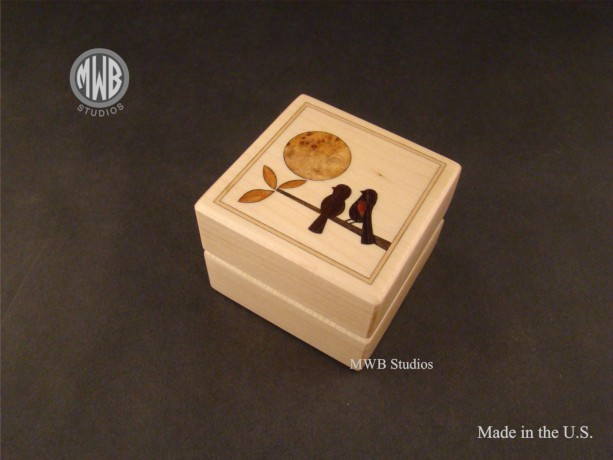 Inlaid Ring Box of 2 love birds in a tree.  Free Shipping and Engraving  RB34 Maple