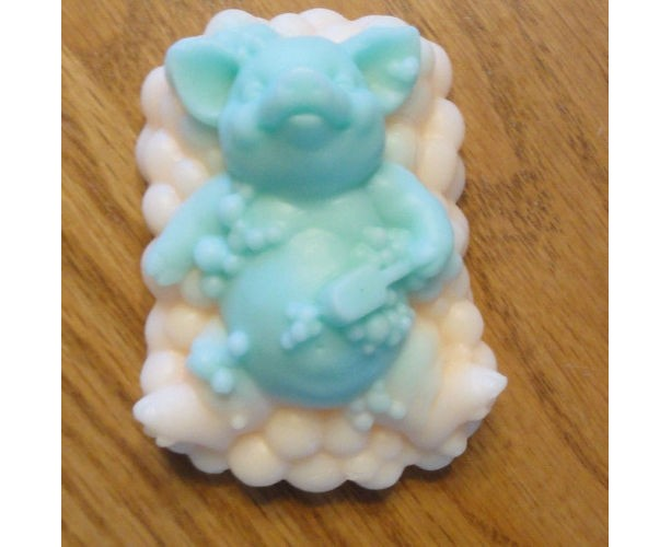 Pig in Bath Decorative Soap Blue Orange