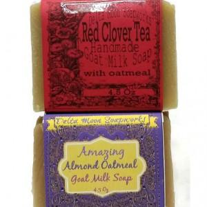 Almond and Red Clover Tea Goat Milk Soaps, oatmeal soap, olive oil soap, favorite goat milk soap, exfoliate, smooth skin, sensitive skin