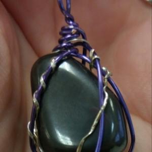 Handmade Wire Wrapped Hematite Pendant