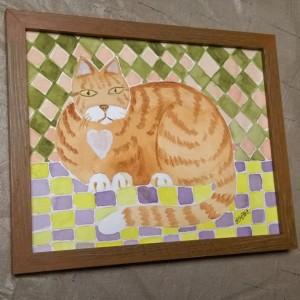 ORANGE STRIPED KITTY, original watercolor cat art -framed