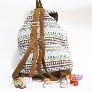 SMALL SIZE FLAPPED DRAWSTRING WOMEN'S HANDMADE BROCADE FABRIC