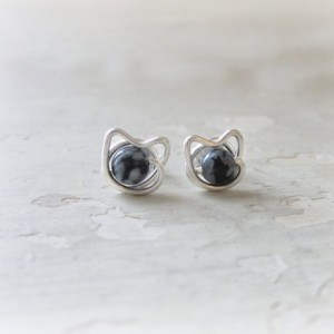 Tiny Cat Earrings, Spotted Cat Posts, Small Cat Studs, Sterling Cat Earrings, Kitty Jewelry, Cat Lover, Sterling Silver Posts, Cat Studs