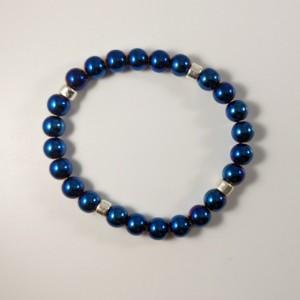 The Nigel | handmade beaded stretch bracelet, blue hematite, chrome bracelet, silver Mykonos ceramic, men's / unisex jewelry, Gifts for Him