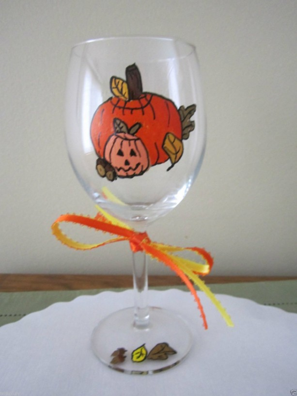 Painted Wine Glass Halloween Pumpkin with Jack O Lantern
