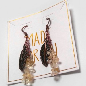 Bronze Leaf and Citrine Earrings