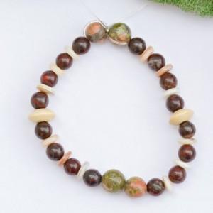 Stretch bracelet/brecciated Jasper, white shell rondelles, unakite beads/boho bohemian/Mens bracelet/Under 20 dollars/Nickel free