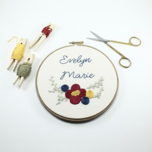 Floral Custom Baby Name Embroidery Hoop Art