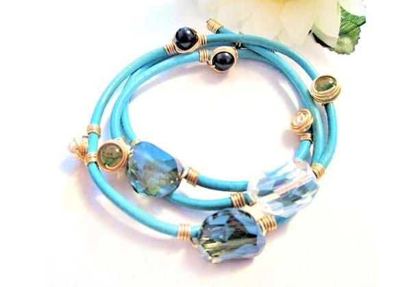 Turquoise Leather Beaded Bracelet, Large Crystals, Gemstone Bracelet, Blue Bracelet, On Sale, Wire Wrapped Breads, Wrap Around Bracelet