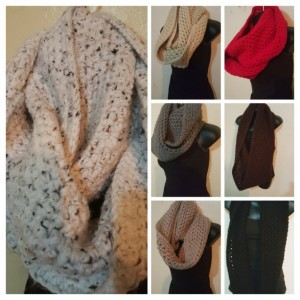 Thick Chunky Infinity Cowl Handmade Crochet Scarf in 7 Colors - Black, Brown, Grey, Tan/taupe, Cream/beige, White w. specks, and Red