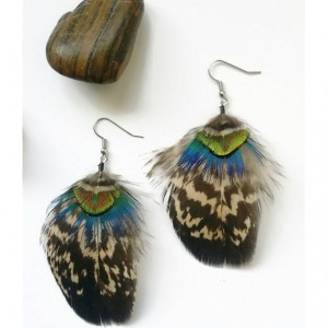 Peacock Feather Earrings - Feather Earrings - Natural