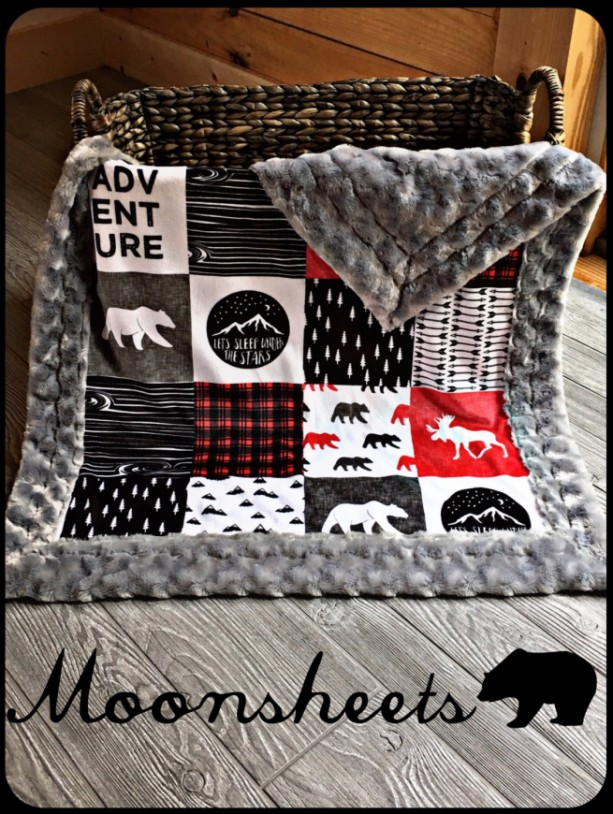 Mountain Minky Baby Blanket Mountain Lumberjack Faux Quilt Mountain Arrow Bear Moose Wood Adventure Toddler Childrens