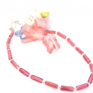 Spring Pink Shabby Chic  Elegance glass tube swarovski Necklace choker sterling silver clasp