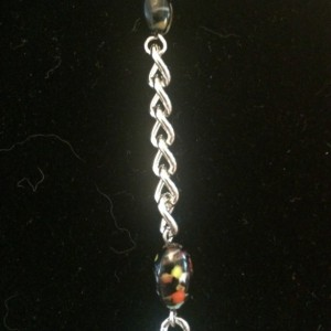 """20"""" Black Multicolor Beaded Necklace Lanyard Silver Chain ID Badge Clip"""