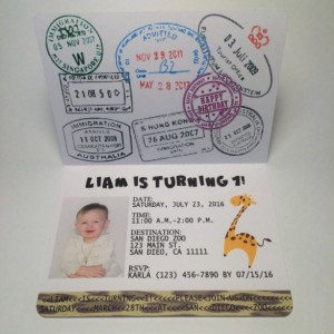 Passport to the jungle birthday invitation- set of 25