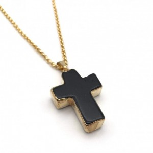 BLACK TOURMALINE CROSS NECKLACE