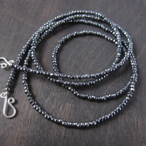 "Sweet & Simple Hematite 3mm Faceted Necklace 31"" with 14k GF Handmade Swirl Clasp"