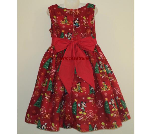 new handmade disney winnie the poohtiger red christmas dress custom size 12m 14yrs - Red Christmas Dresses