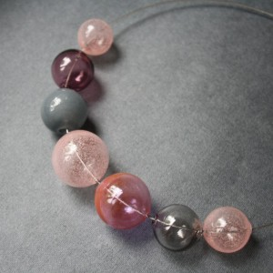 Hollow Glass Necklace - Steel rope - Pink Grey Color