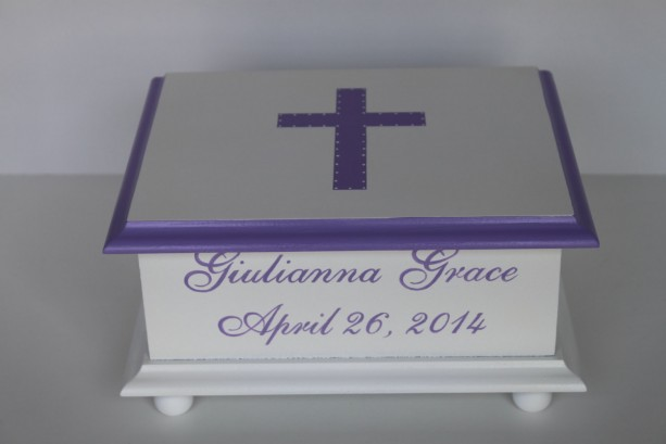 Baby Christening or Confirmation Keepsake Memory Box personalized - Lavender cross baby gift