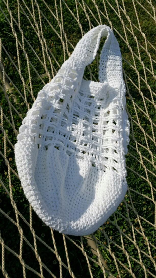 Large white cotton market/beach bag