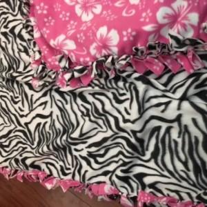 Pink and Black fleece blanket
