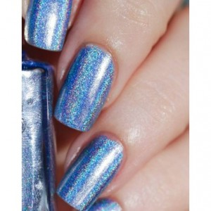 NEW SHAPES - Blue Holographic Halo Rainbow Pride Hand Painted Nail Set