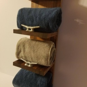 Rustic Nautical Towel Rack, Four Shelf, Bathroom Decor