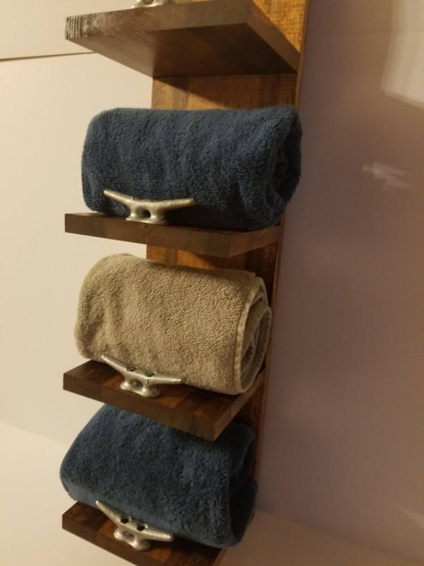 ... Rustic Nautical Towel Rack, Four Shelf, Bathroom Decor ...