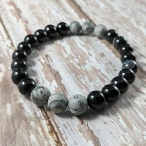 The Micah | handmade beaded stretch bracelet, black striped agate, matte map jasper beads, gray bracelet, men's / unisex, Gifts for Him