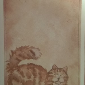 Cat Art Bookplates Set of 5 self stick bookplates -ORANGE PERSIAN CAT-