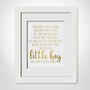 Hold Him A Little Longer, Gold Foil Print, Poem For Godson Baptism Gift Godson, Gift From Aunt, Unique Baptism Gift For New Mom Gift Ideas, New Mom Gift Basket