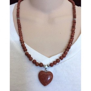 Gorgeous Goldsand Beaded Necklace, Goldsand Heart Pendant