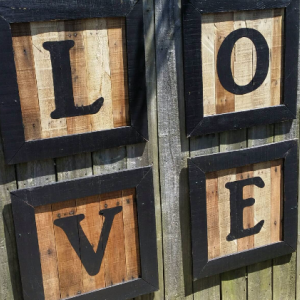 Handcrafted Distressed Reclaimed Large Rustic Wooden Love Signs