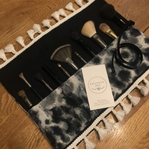 Black Gray & White Acid Wash Tie Dye Makeup Brush Roll Case