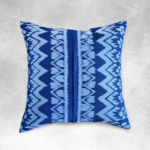 "Ikat Pillow Cushion Cover, Indonesian Handwoven ""Indigo Ratu"" Traditional Decorative pillow"