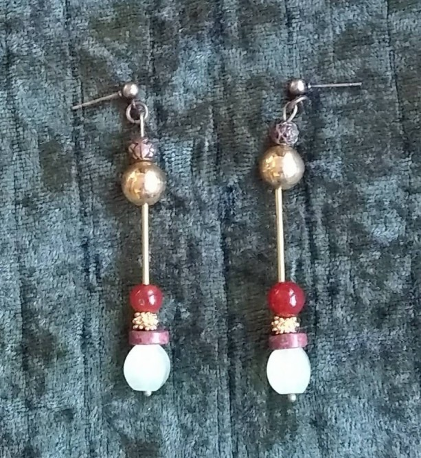 baroque luxe gemstone earrings in brass moon glow