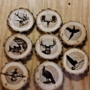 Custom Engraved Log Wood Wildlife Coaster's Set of (6)